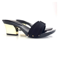 WOMAN BLACK CLOGS HEEL GOLD-K28201