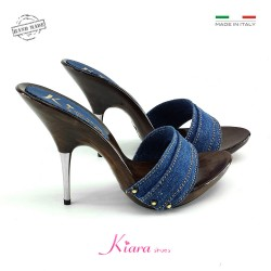 JEANS CLOGS WITH METAL HEEL