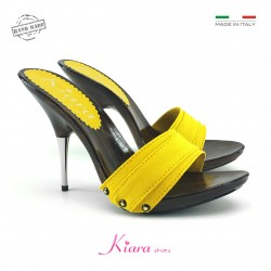 YELLOW CLOGS WITH METAL HEEL
