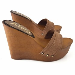 LADY CLOGS  WEDGE WOMAN BROWN