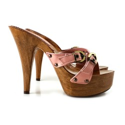 LEATHER PINK HIGH HEEL STILETTO CLOGS