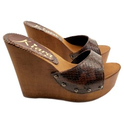 WEDGE CLOGS IN PYTHON LEATHER