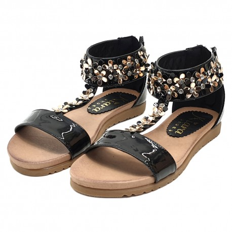 BLACK SANDALS WITH FLOWERS