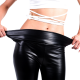 BLACK ELASTIC LEATHER PANTS