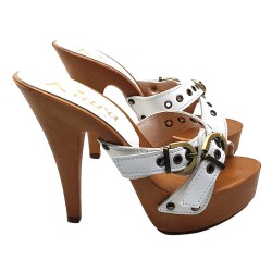HIGH HEEL STILETTO CLOGS WHITE LEATHER
