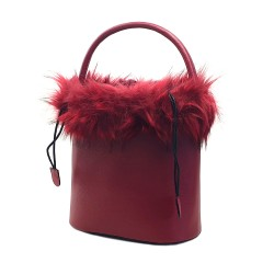 WOMEN'S RED BUCKET BAG WITH FUR