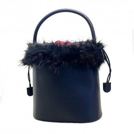WOMEN'S BLACK BUCKET BAG WITH FUR