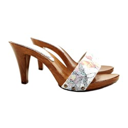 WHITE CLOGS PICASSO STYLE HEEL 9