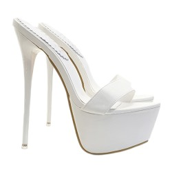 HIGH STILETTO IN WHITE SYNTHETIC LEATHER HEEL 17