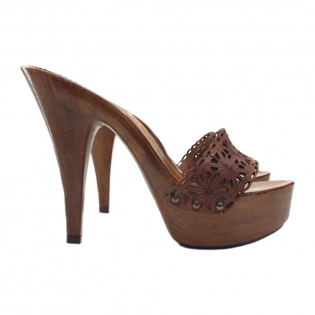 LEATHER CLOGS BROWN HIGH HEEL 13 CM