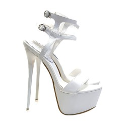 HIGH STILETTO IN WHITE LEATHER SIZE UP TO 44