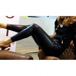BLACK SYNTHETIC LEATHER PANTS