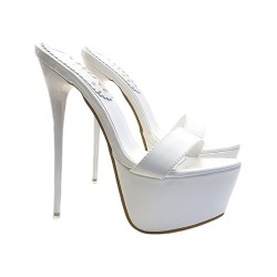HIGH STILETTO IN WHITE PATENT LEATHER HEEL 17