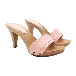 PINK CLOGS IN LEATHER HEEL 9