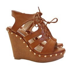 WEDGE SANDALS LEATHER COLOUR
