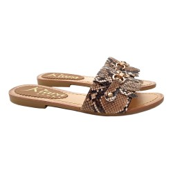 WOMEN'S JEWEL SANDALS WITH PYTHON EFFECT BAND
