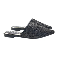 BLACK MULES IN RAFFIA