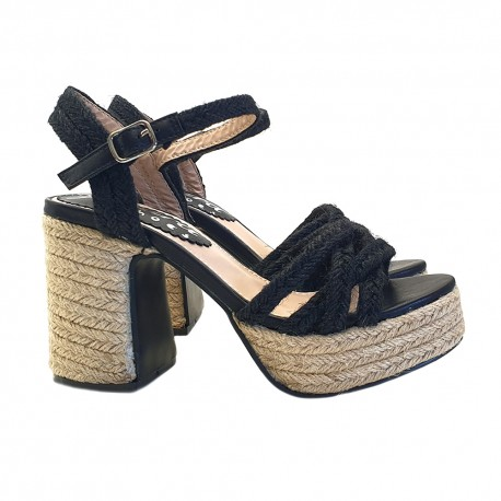 Sexy black Sandals in rope with ankle strap