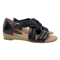 BLACK SANDALS WITH LOW HEEL IN ROPE