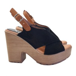 WOMEN'S BLACK SANDALS IN SYNTHETIC SUEDE