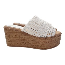 LADY WHITE WEDGE CLOGS