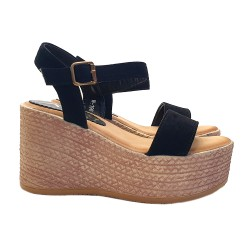 LADY WEDGE IN SUEDE WITH ANKLE STRAP