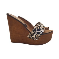 WOMAN LEOPARD WEDGE CLOGS HEEL 13