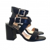 WOMAN'S FASHION BLACK SANDAL WITH DOUBLE ANKLE STRAP