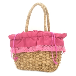 WOMEN'S FUCHSIA STRAW BAG