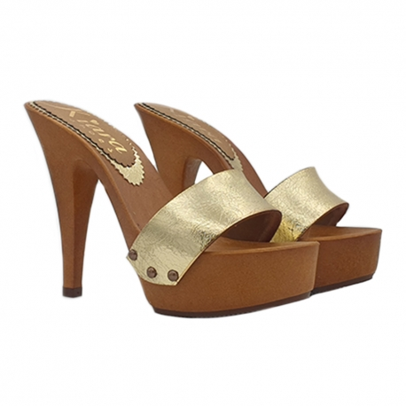 GOLDEN CLOGS IN LEATHER