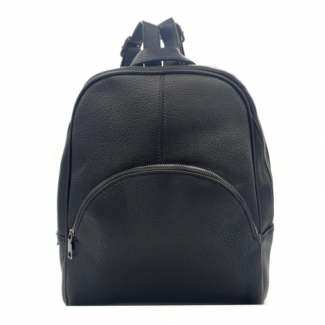 BLACK SYNTHETIC LEATHER BACKPACK