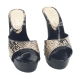 WOMEN'S LEATHER PYTHON PATTERN CLOGS HEEL 13