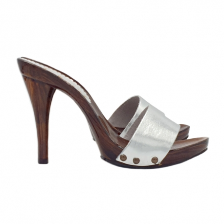 SILVER LEATHER CLOGS HEEL 12