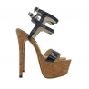 BLACK HIGH STILETTO IN CORK HEEL 17