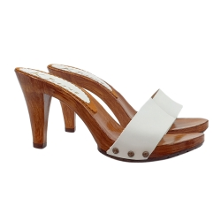 HEEL CLOGS IN WHITE LEATHER