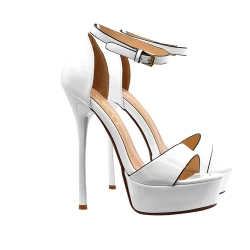 HIGH SANDALS IN WHITE PATENT LEATHER WITH STRAP