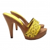 YELLOW LASERATED HIGH HEEL CLOGS